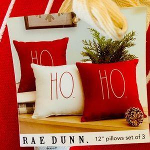 """Rae Dunn """"Ho Ho Ho"""" set of 3 Christmas Pillows"""